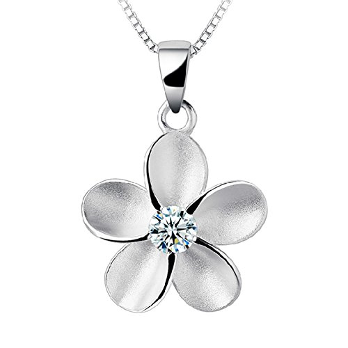 EOVE Jewelry Sterling Silver Women Hawaiian Plumeria Flower CZ Necklace Pendant with 16' Box Chain