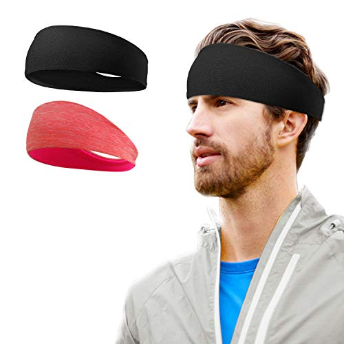 ヘアバンド メンズヘッドバンド 汗止め 吸汗速乾 肌触りが柔らかい 伸縮性抜群 スポーツ用 男女兼用 (2枚入り-黒色、赤橙色)
