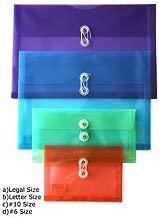 STEMSFX String & Button Side Loading Transparent Poly Envelope Folder, Pack of 12 Assorted Colors (14.5