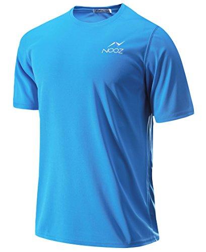 Nooz Men's Performance Quick-Dry Training Crew Neck Short-Sleeve T-Shirt -Light Blue - X-Large