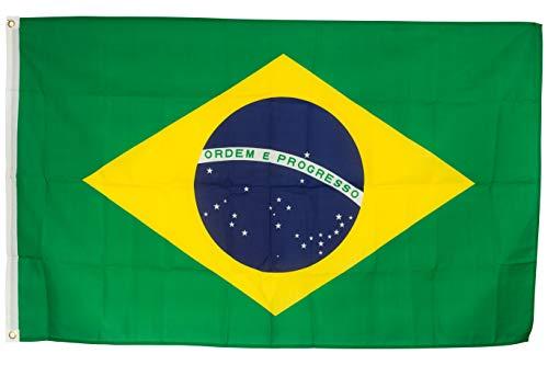 SCAMODA Bundes- und Länderflagge aus wetterfestem Material mit Metallösen (Brasilien) 150x90cm