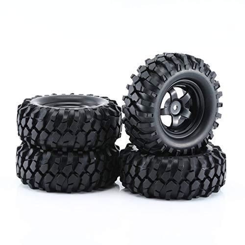 Nihlssen Neumáticos y Llantas de Goma de Coche RC 1:10 Negro para Todoterreno RC Crawler Buggy Resistencia a la abrasión Modelo de Repuesto Accesorio, 4 Piezas