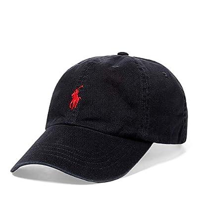 Polo Ralph Lauren Hat, Core Classic Sport Mens Cap,Black/Red Pony, One Size