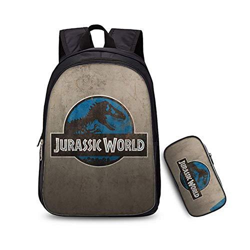 BDMF 3D Jurassic Park Dinosauro Stampare 2PCS Set di Borse Zaino Scuola Bambino Ragazzo Ragazza Scuola Bookbag e Astuccio per Computer Portatile da 14 Pollici,10