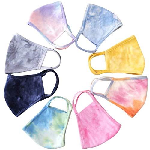 8 Stück, Waschbar, Baumwolle, Mehrfarbig, Batik, Druck, Mun