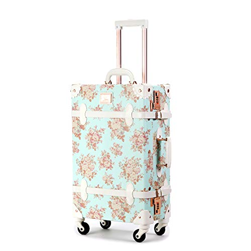 Unitravel Vintage Luggage 24 inch Retro Women Cute Suitcase with Spinner Wheels Combination Lock (Floral Blue)