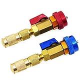 HSEAMALL 2 piezas de aire acondicionado R134A válvula de núcleo rápido instalador de alta presión herramienta de aire acondicionado de coche R134a herramienta de reparación de accesorios azul y rojo