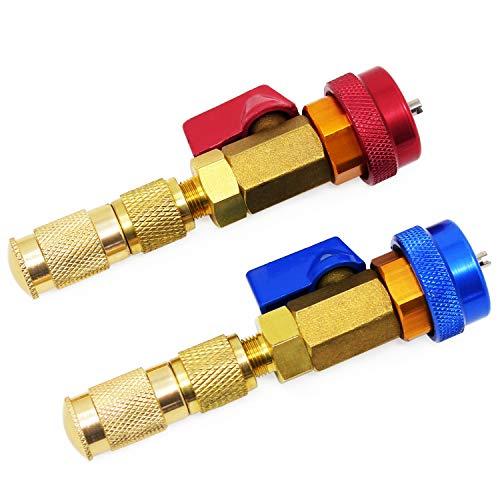 HSEAMALL 2 piezas de aire acondicionado R134A válvula de núcleo rápido instalador de alta presión herramienta de aire acondicionado de coche R134a herramienta de reparación de accesorios azul