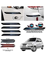 BUY HAPPYAMMY SHOP Rubber Car Bumper Protector Guard with Double Chrome Strip for Car 4Pcs - Black (for Hyundai SANTRO XING)