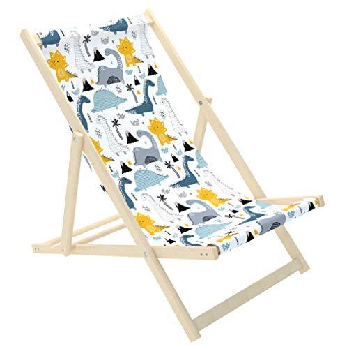 Novamat Kinderliegestuhl Liegestuhl für Kinder aus Holz klappbar Liege Strandliege Gartenliege Sonnestuhl Sonnenliege Balkon Baby Strand, Motiv:Dino