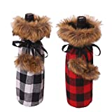 Wine Bottle Cover Decorations, Wosoova Buffalo Plaid Wine Bag Faux Fur Wine Bottle Clothes, Xmas Wine Decor for Women Men Holiday Christmas Thanksgiving Party Dinner Wedding, 2 Pieces