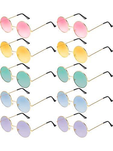 Blulu 10 Pares de Gafas de Sol de Hippies Redondas John de los Años de 1960 Gafas de Colores