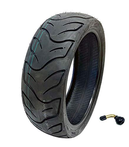 MMG Tire 130/60-13 Tubeless Front or Rear Motorcycle Scooter Moped, Includes TR87 Bent Metal Valve Stem
