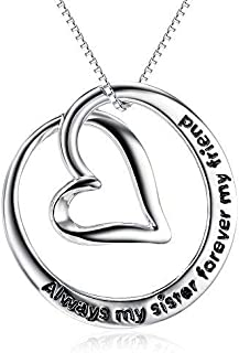 S925 Sterling Silver Always My Sister Forever My Friend Love Heart Pendant Necklace Bff Gift for Women Girls