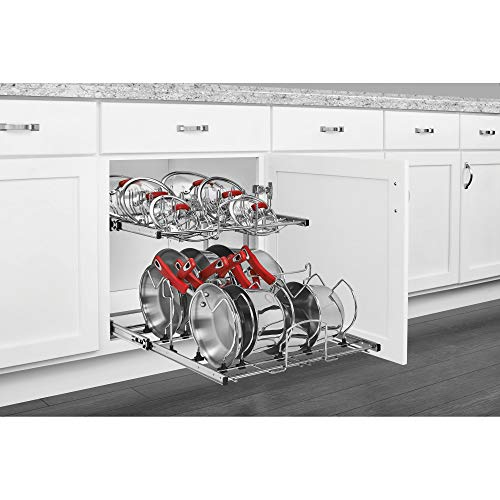 Rev-A-Shelf 5CW2-2122-CR 21-Inch 2-Tier Wire Pull Out Kitchen Cabinet Organizer for Pots, Pans, and Lid Cookware, Chrome