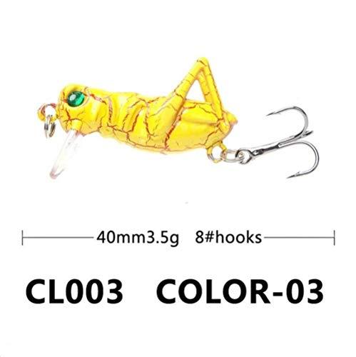 DACCU 1PCS 3.5 g 4 cm Cebo de Pesca de Cricket Ojos 3D Insecto vívido Saltamontes Pseudo Presa Cebo Duro Señuelos para Pesca, 3,40 mm