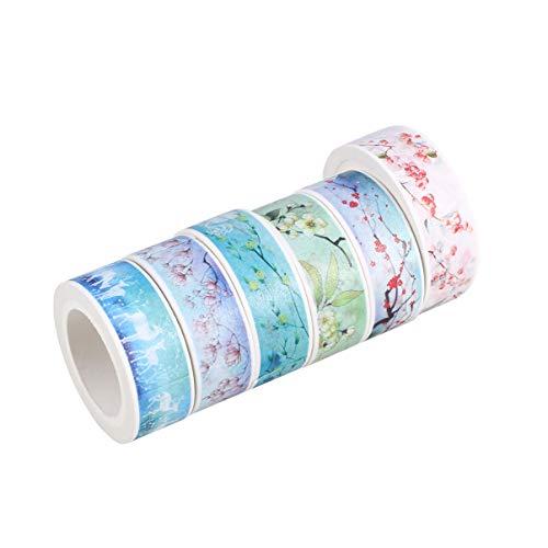 NUOBESTY 6 rollos de cinta adhesiva de papel para manualidades, para mujeres, adultos, niñas, 15 mm