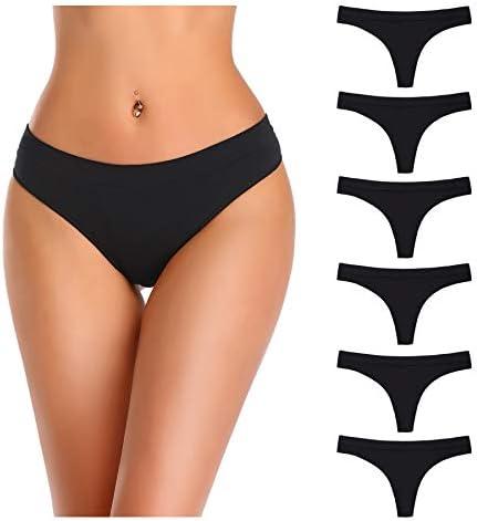 Nowketon Thongs for Women Nylon Underwear Panties Seamless No Show Thong Stretchy Spandex Tanga product image