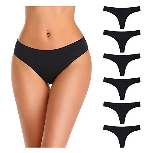 Nowketon Thongs for Women, Nylon Underwear Panties, Seamless No Show Thong, Stretchy Spandex Tanga, Black, Large