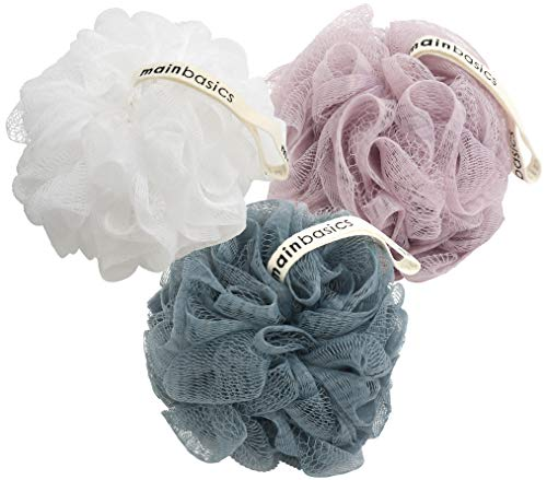 MainBasics Bath Shower Loofah Sponge Pouf Body Scrubber Exfoliator Set of 3