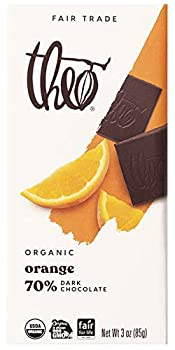Theo Chocolate Orange Organic Dark Chocolate Bar 70% Cacao 1 Bar | Vegan Chocolate Fair Trade