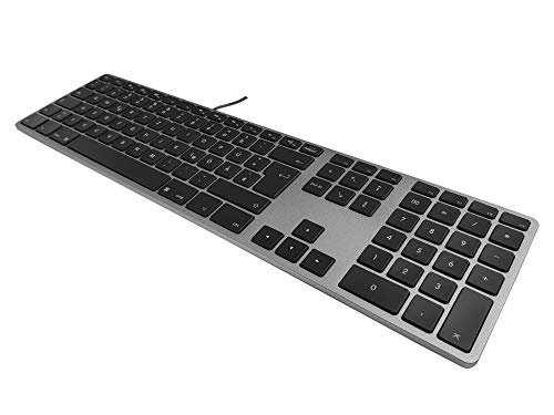 Matias FK318LB-DE Aluminum Wired Tastatur mit RGB-Hintergrundbeleuchtung USB Keyboard für Apple Mac OS | QWERTZ | Deutsch | mit flachen Tasten und zusätzlichem Ziffernblock - Space-Grey