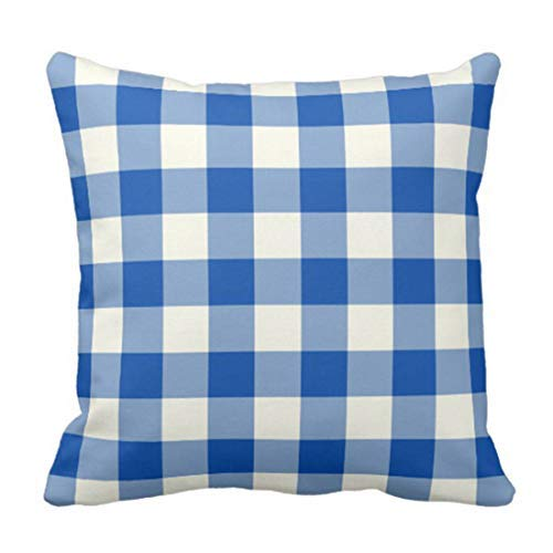 no branded Colorful Garden Cobalt Blue Gingham Patio Throw Pillow Case Cushion Cover Home Decoration for Sofa Car 18' x 18' Lovely Gift for Girls/Boys/Women/Men Pillow Cover