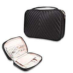 A bold Travel Jewelry Organizer Case statement with dynamic diagonal stitching, architecturally designed to go to travel in high style. Easy open and convenient storage more jewelry, necklaces and earrings and so on Soft Black PU Leather material, st...