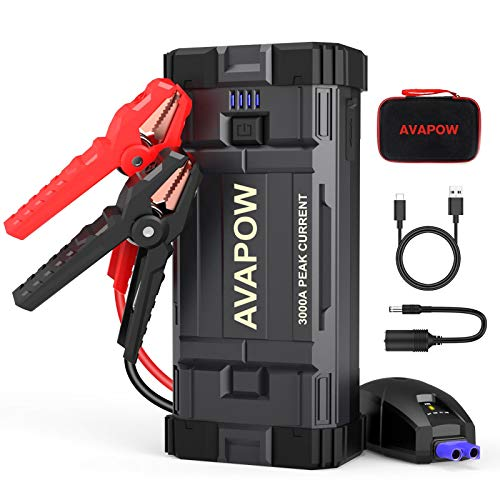 AVAPOW Car Battery Jump Starter Portable,3000A Peak 23800mAh,12V Jump Boxes for Vehicles(Up to 8L Gas/8L Diesel Engine),Auto Battery Booster Jumper Pack with USB QC3.0/LED Light…
