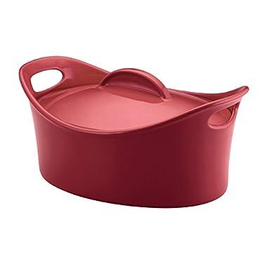 Rachael Ray Stoneware 4.25-Quart Casseroval Covered Baking Dish, Red