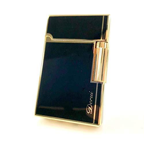 【C17】 Derui/デルイ フリントガスライター ゴールド/金 ブランドカード付き 横回し式 ブラックライン ラグジュアリー 高級感 火力調整ネジ有 充填式