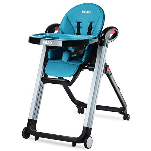 HEAO High Chair & Toddler Chair Foldable highchairs Reclining Seat Adjustable Height 4 Wheels Blue