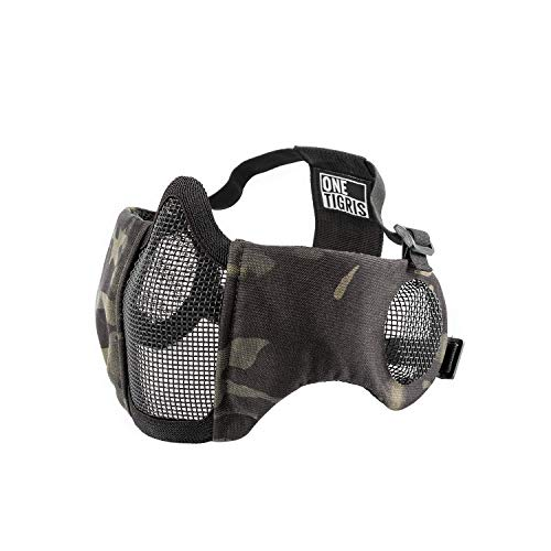 """OneTigris 6"""" Foldable Half Face Airsoft Mesh Mask with Ear Protection, Military Tactical Lower Face Protective Mask (Black)"""