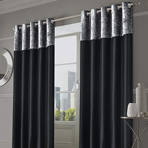 Sienna Crushed Velvet Band Curtains Drapes Fully Lined Grommet Luxury Ring Top Faux Silk Window Treatment 2 Panels for Bedroom Living Room Windows - Silver Grey, 66 by 72 inches