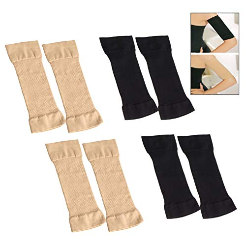 XLKJ 4Pares Mangas de Brazo de Mujer de Refrigeración Protección UV de Compresión de Brazo Elástico, Adelgazante Brazo de Fitness Deportivo