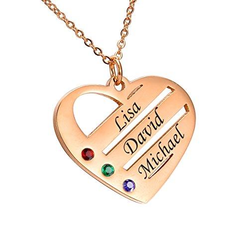 HooAMI Personalisierte Familienmitgliedernkette - Halskette mit Steinen - Geburtssteinkette - mit Gravur 2 Namen (3 Namen rosévergoldet)