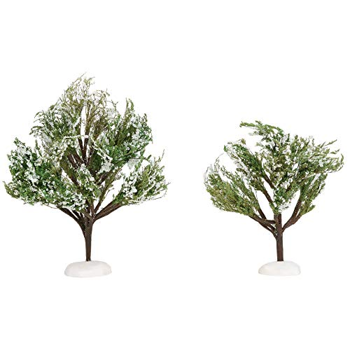 Department 56 Village Cross Product Accessories White Christmas Oak Trees Figurine Set, 7 and 9 Inch, Multicolor