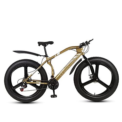WLWLEO Bicicleta de montaña Fat Tire Bicicleta de 26 Pulgadas 21/24/27 velocidades,Marco de Acero al Carbono,Frenos de Disco Doble,Bicicleta Todoterreno de Playa y Nieve,Oro,21 Speed