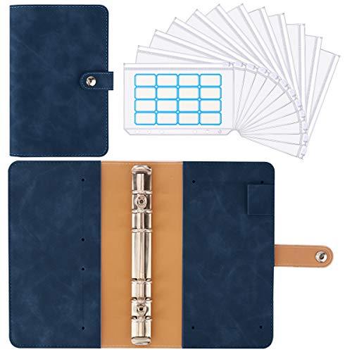 Housolution Carpeta de Cuaderno de 6 Anillas, Cubierta de Hojas Sueltas de Cuero de PU con 12 Sobres de Plástico Transparente con Cremallera A6, Bolsillos y Etiqueta Autoadhesiva - Índigo