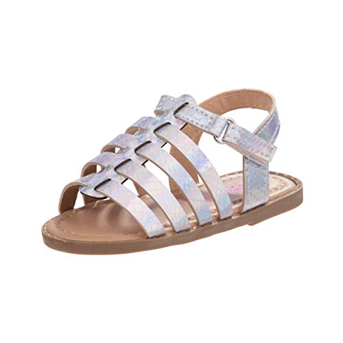 Kensie Girl Gladiator Sandals with Shiny Straps, Iridescent White, Size 8 Toddler'