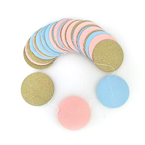 OTNZQZYF 3M Pink Multicolor Sparkle Round Circle Paper Garland Flora Heart String Banner Wedding Party Decor R05