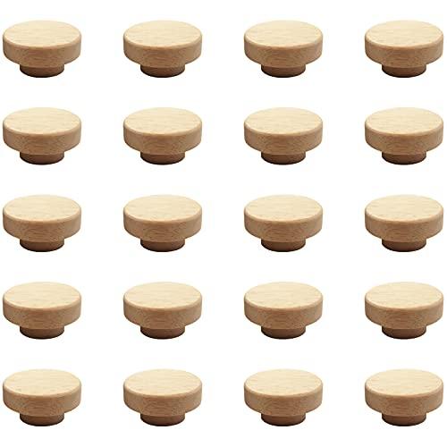 Bocotoer - 20 pomos de madera de 40 mm x 25 mm para cajón, zapatero o armario