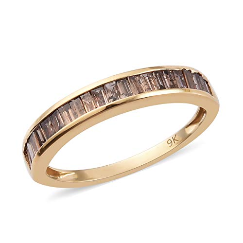 Champagne Diamond I3 Half Eternity Ring for Women Gift for Wife/Girlfriend in 9ct Yellow Gold SGL Certified Size P, TCW 108ct.