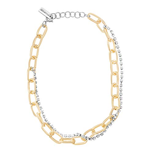 Steve Madden Women's Cable Chain and Rhinestone Two-Tone Multi-Strand Necklace