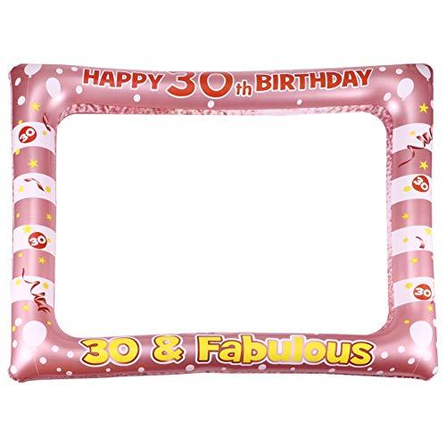 PRETYZOOM Aufblasbare Rahmen 30. Geburtstag Deko Fotorequisiten Fotorahmen Selfie Bilderrahmen Folienballon Party Photo Booth Ballons Foto Verkleidung für Baby Kindergeburtstag Deko