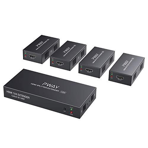 PW-HTS0104 (POC) 1X4 Splitter HDMI Extensor de Divisor Puerto sobre Cat5e/Cat6 Cable...