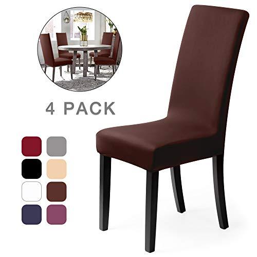 Fundas para sillas Pack de 4 Fundas sillas Comedor Fundas elásticas, Cubiertas para sillas,bielástico Extraíble Funda, Muy fácil de Limpiar, Duradera (Paquete de 4, Marrón)