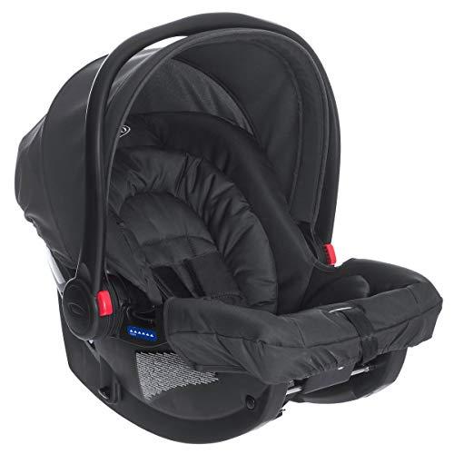 Graco SnugRide Babyschale, leichter Baby-Autositz, Geburt bis 13 kg, Seitenaufprallschutz, Neugeboreneneinlage, Verdeck, mit Gurt oder Basisstation, nutzbar mit Graco Kinderwagen, Midnight Black