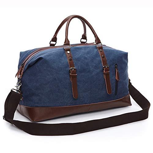 YIBANG-DIANZI para el Trabajo, la Escuela, el Hombre. Viaje del Equipaje Unisex Weekender de Lujo Bolsa de Lona for los Hombres Lienzo Mochila con Cuerdas (Color : Blue, Size : S)