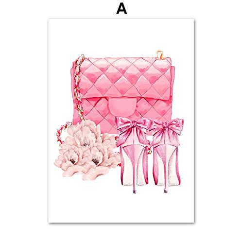 KELDOG® Poster en druk Nordic Fashion Book Paris parfum Lippenstift Wall Art Canvas schilderij afbeeldingen wandschilderijen voor woonkamer decoratie 50 x 70 cm